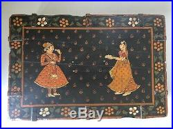 Handpainted 19th Century Antique Indian Wooden Marriage Spice / Jewellery Box