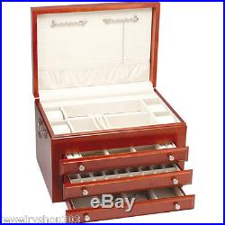 Heirloom Jewelry Chest, Top Deck Tray & Three Drawers, Solid Cherry Hardwood USA