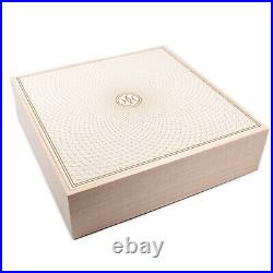 Hermes New Wooden Jewelry Box Tan 3 Compartment H Logo Large Square 28 cm