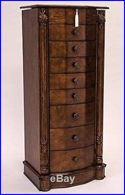 Hives and Honey Large Floor Standing 8 Drawer Wooden Jewelry Armoire with Mir