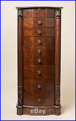 Hives and Honey Large Floor Standing 8 Drawer Wooden Jewelry Armoire with Mirror