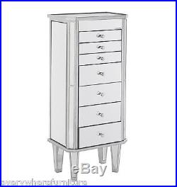 Hollywood Regency Glam Mirrored Jewelry Armoire Margaux Chic Furniture JS7512