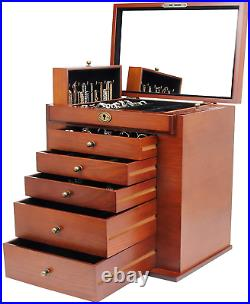 Homde Large Wooden Jewelry Box/Cabinet/Armoire with Lock for Women Girls Ring