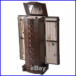 Home Wooden Jewelry Cabinet Armoire Box Storage Chest Stand Organizer Case US