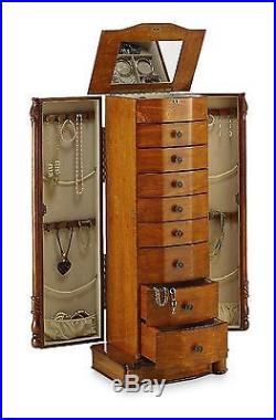 Honey Oak Armoire Louis Cabinet Jewelry Stand Necklace Hooks Jewelry Mirror 40