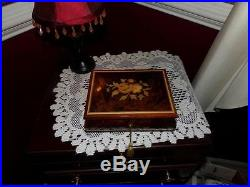 INLAY BOX MUSICAL WOODEN ITALY LOCKS With ORG. CERT. OF AUTH. FOOTED NEAT