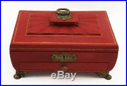 Immaculate Antique English Regency Silk Lined Leather Bound Wooden Gilded Box