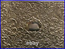 Impressive Italian Wooden Jewelry Box with Sterling Silver Repousse Decoration