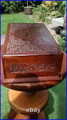 Indian Hand Carved Wooden Trinket Jewellery Box Brass Elephant Inlays