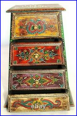 Indian Handmade Wooden Painted Jewelry/ Spice/Storage Box Holder Rack 4 Drawers