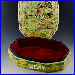 Indian Mughal Dynasty Oriental Wooden Jewelry Box 9.5 Inches X 7 Inches