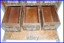 Indian Old Hand Made Beautiful Work Unique 4 Drawers Wooden / Jewellery Box