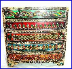 Indian Spice Cabinet Wooden Hand Painted Christmas Jewelry Decorative Box Gift