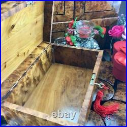 Inlaid mother of pearl Jewelry organizer lockable lid mosaic thuya wooden box