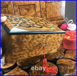 Inlaid mother of pearls Jewelry organizer lockable lid mosaic thuya wooden box