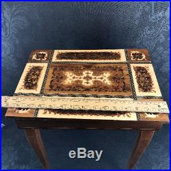 Italian Wooden Inlay Marquetry End Dresssing Table Music Jewelry Box Vintage
