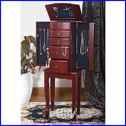 JEWELRY ARMOIRE Stand Tall Storage Chest Mirror Box Necklace Cabinet ORGANIZER
