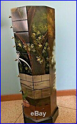 Jewelry Armoire 8 Drawers Storage Wooden Cabinet Black 41 h Asian Peacocks EUC