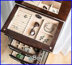 Jewelry Armoire Box Case Storage Necklace Rings Earrings Wooden Fashion Jewelry