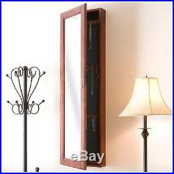 Jewelry Armoire Box Mirror Wall Mount Organizer Chest Cabinet Cherry Wood Wooden