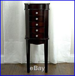 Jewelry Armoire Box Wood Chest 5-Drawer Cabinet Organizer With Mirror Stand