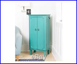 Jewelry Armoire Cabinet Chest Box Tall Storage Turquoise Distressed Wood Blue