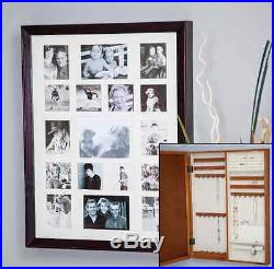 Jewelry Armoire Cabinet Locked Photo Picture Frame Box Wood Hidden Organizer NEW