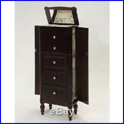 Jewelry Armoire Cabinet Organizer Box Storage Free Stand Chest Mirror Espresso