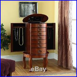 Jewelry Armoire Cabinet Organizer Storage Box Stand Chest Ring Wood Necklace New