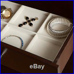 Jewelry Armoire Cabinet Standing Organizer Chest Mirrored Necklace Storage Brown