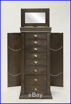 Jewelry Armoire Cabinet Storage Chest Stand Necklace Earring Organizer Box Wood