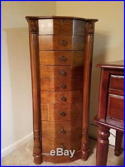 Jewelry Armoire Cabinet Wooden Antique 8 Drawers Stand Storage Organizer Box NEW