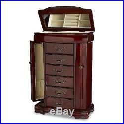 Jewelry Armoire Chest Box Storage Cabinet Stand Wood Organizer Gifts For Women