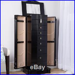 Jewelry Armoire Chest Box Tall Black Storage Cabinet Stand Wood Organizer NEW
