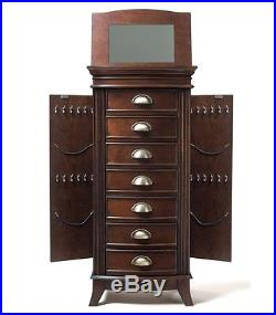 Jewelry Armoire Chest Cabinet Box Wooden Tall Mirror Organizer Furniture Wood