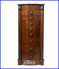 Jewelry Armoire Chest Cabinet Wood Mirror Storage Wooden Mirrored Furniture Tall