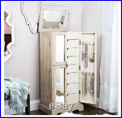 Jewelry Armoire Chest Mirror Box Tall Storage Cabinet Stand Wood Grey Weathered