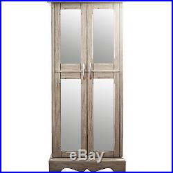 Jewelry Armoire Chest Mirror Box Tall Storage Cabinet Wood Stand Weathered Gray