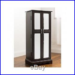 Jewelry Armoire Chest Mirrored Box Tall Storage Cabinet Stand Wood Organizer NEW