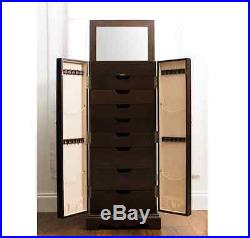 Jewelry Armoire Chest Mirrored Espresso Box Tall Storage Cabinet Stand Wood NEW