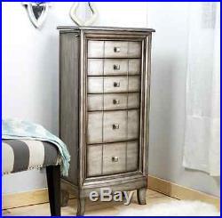 Jewelry Armoire Chest Silver White Wood Box Tall Vintage Storage Stand Organizer