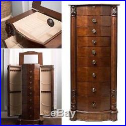 Jewelry Armoire Chest Wood Case Box Tall Cabinet Storage Organizer Stand Mirror