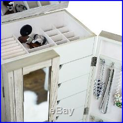 Jewelry Armoire Chest Wood Case Box Tall Cabinet Storage Organizer Taupe New