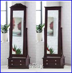 Jewelry Armoire Full Length Mirror Mirrored Tilting Box Wood Large Drawers Lock