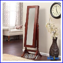 Jewelry Armoire Mirror Necklace Rings Earings Organizer Wood Storage Chest Box