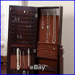 Jewelry Armoire Mirror Storage Cabinet Organizer Free Standing Full Length Gift