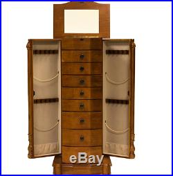 Jewelry Armoire Oak Chest Box Tall Storage Cabinet Stand Wood Case Organizer NEW