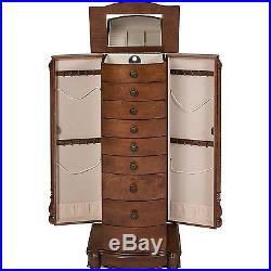Jewelry Armoire Organizer Wood Chest Necklace Ring Bracelet Mirror Storage New