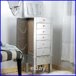 Jewelry Armoire Silver Wood Box Tall Modern Chest Storage Stand Drawer Organizer
