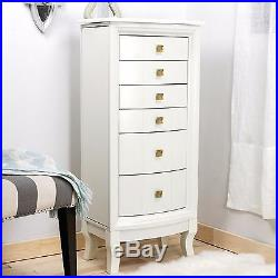 Jewelry Armoire Stand White Wood Box Tall Storage Chest Cabinet Organizer NEW